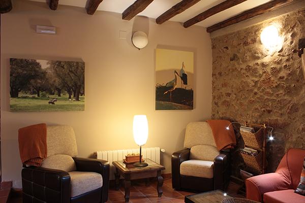 Zona de lectura reservada a clientes aliojados en el Hotel Rural el Cerezal de los Sotos. La luz cálida invita a la calma. Hotel en el valle del jerte, tu hotel para esa escapada
