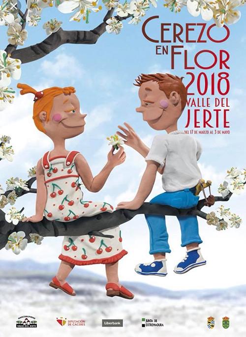 Cartel de la fiesta del cerezo en flor 2018.